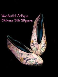 Antique Chinese Silk Embroidered Slippers