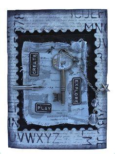 Tim Holtz Frayed Fabric Compendium of Curiosities Challenge 19 - Marjie Kemper