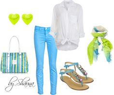Skinny jeans and a knotted shirt, created by shauna-rogers on Polyvore