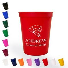 Celebrate one of life's biggest achievements with 16 ounce personalized plastic graduation stadium cups.  These reusable cups are custom printed with a design of your choice and up to three lines of text. After the celebration your guests can take their cups home as a useful memento of your grad's big day.