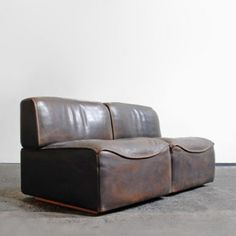 Anonymous; Leather Sectional by De Sede, 1960s.