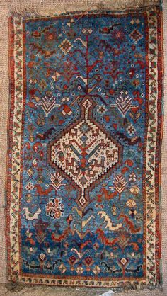 Shiraz Carpet With Blue Field (1870 - 1900)