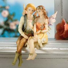 Fairy Couple Shelf Sitters Statue