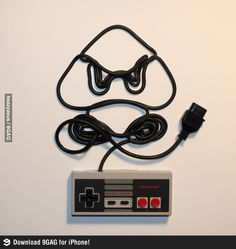 Goomba, created with Nintendo controller cord.