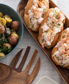 This recipe is the Blue Apron family's salute to the sea. You'll make shrimp rolls, a fun classic that has been a part of New England's cuisine for generations, served with a warm potato and kale salad.