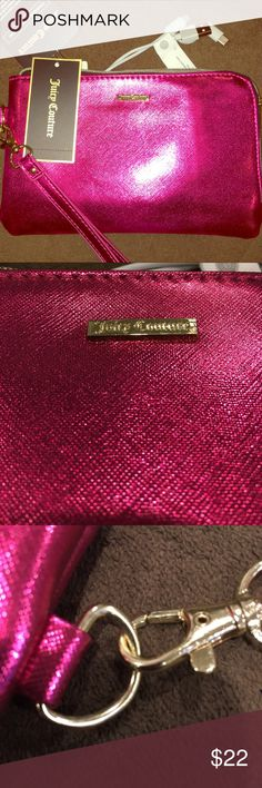 🖤💜Juicy Couture Wristlet Charging Cosmetic Bag MSRP $60.00  New With Tags Shiny Fuchsia Juicy Couture Wristlet/Clutch/Cosmetic Bag With Phone Charger!!! This bag is adorable AND practical!! It has its own power bank that works for an IPhone, BlackBerry, LG, Android, Galaxy and Smart Phone Products! It has a very small imperfection that is noted in the pictures.  It's 8.5 inches by 5.5 inches. Juicy Couture Bags Clutches & Wristlets