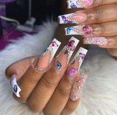 Acrylic Nail Designs Glitter, Nail Designs Bling, Colored Acrylic Nails, Long Square Acrylic Nails, Nails Design With Rhinestones, Bling Acrylic Nails, Summer Acrylic Nails, Bling Nails, 3d Nails
