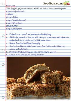 Feijoa Oaty Slice // must try! Fejoa Recipes, Kiwi Recipes, Egg Free Recipes, Sweet Recipes, Baking Recipes, Good Food, Yummy Food, Healthy Food, Healthy Eating