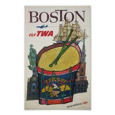 Boston Fly TWA Airlines Vintage Air Travel Poster - vintage gifts retro ideas cyo