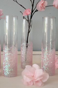 Glittery Pink Vases...Not pink but the color of your wedding