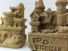 Sand Castle Sculptures Mini Set of Two Paper Weights Love Michigan