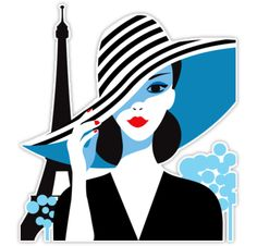 ESZAdesign Stylish beautiful model for fashion design. Art deco graphic illustration. Portrait of pretty girl on sea. Elegant striped vector style. • Also buy this artwork on stickers, apparel, phone cases, and more.