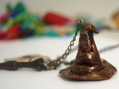 Hogwarts letter, Sorting Hat & wand charm necklace $35.95 Letter Sorting, Sorting Hat, Hogwarts Letter, Wands, Polymer Clay, Charmed, Unique Jewelry, Handmade Gifts, Etsy