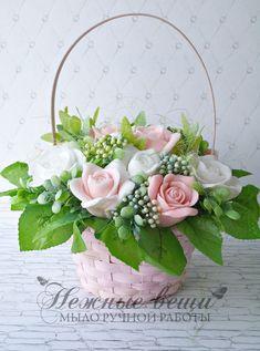 Artificial Flower Arrangements, Artificial Flowers, Floral Arrangements, Rose Soap, Basket Decoration, Flower Boxes, Flower Decorations, Etsy Shop, Free Shipping