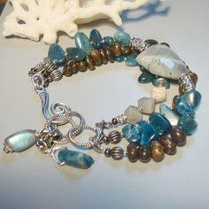 ON SALE Labradorite, Blue Kyanit and Bronzite Bracelet