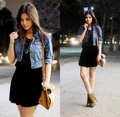 Black dress and denim jacket – Dress blog Edin