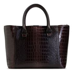 Victoria Beckham Brown Croc-Effect Leather Tote (13 735 SEK) ❤ liked on Polyvore featuring bags, handbags, tote bags, brown, two tone leather tote, croc tote, brown tote bag, leather purse и crocodile tote