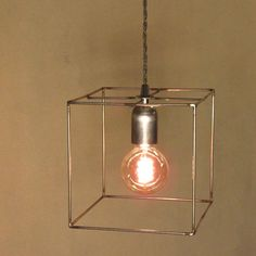 Minimal Raw Steel Cubic Cage Pendant Steampunk Light