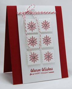 Christmas card ... red snowflakes on inchies ... luv the red and white theme this year!!