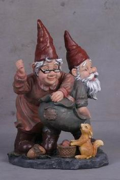 Apparently, the old fella caught his trousers on your rose bushes and Mrs. Gnome is sewing as fast as she can, while a tiny squirrel examines her handiwork. Funny Garden Gnomes, Funny Gnomes, Gnome Garden, Yard Gnomes, Gnomes Book, Humanoid Creatures, Gnome House, Fairy Houses, Doll Houses