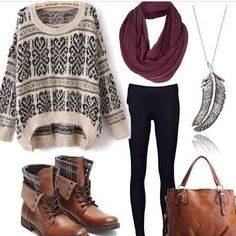 Not a fab of the sweater but i would love to add the rest of the outfit to my closet