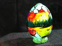 Hand painted egg- 'Other World Egg- a Fisherman's Dream' on a permanent stand by enchantedcraft for $8.00