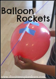 Simple balloon science experiments for kids using balloons. Make a balloon rocket, light up a light bulb with a balloon, blow up a balloon with chemistry, and more! These balloon experiments are super fun and are an easy science experiment for kids to do. Science Projects For Kids, Science For Kids, Science Fun, Summer Science, Science Ideas, Science Lessons, Science Party, Summer Lesson, Simple Science Experiments Kids