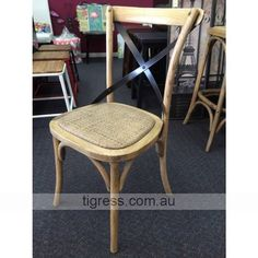"""NEW """"Noosa"""" Oak French Bistro Style Metal Cross Back Dining Chair (Natural Oak) $125 each"""