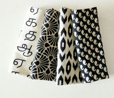 Fat Quarter Bundles - Black and White  - Indian cotton fabric ₹225.00 Fabric : Indian Cotton - pure cotton - LIghtweight cotton FQ Size : 18 x 21 inches - you will get 4 pieces Usage : Patchwork, quilt, table runner, baby quilt, art quilt, wallet, bags, etc Maintenance ... http://www.chezvies.com#!/Fat-Quarter-Bundles-Black-and-White-Indian-cotton-fabric/p/72971045