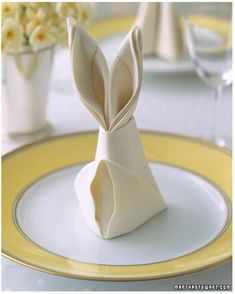 For Easter: master the bunny napkin fold. | 28 Insanely Easy Ways To Get Ready For Easter