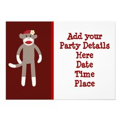 Girl Sock Monkey Custom Party Invitations Template