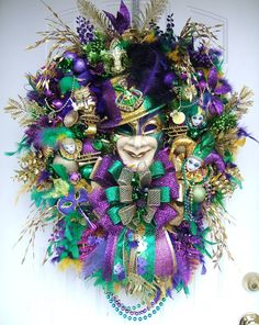 Etsy Transaction - Mardi Gras wreath custom made to order Special, Many styles some not listed, Karneval, Mardi Gras mask