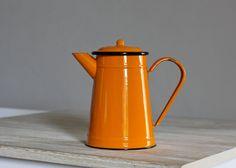 Fabulous French Enamel Coffee Pot Vintage 1970's by maintenant, $48.00