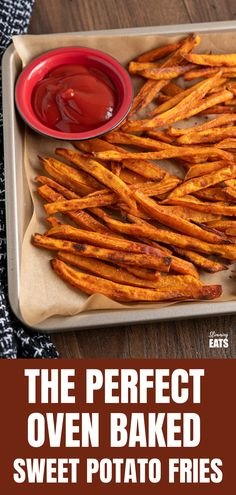 Perfect Oven-Baked Sweet Potato Fries (from www.slimmingeats.com) - a simple easy method for perfect sweet potato fries, cooked in the oven instead of deep-fried and a delicious healthy side for a variety of main courses.  Gluten Free, Dairy Free, Vegetarian, Slimming World and Weight Watchers friendly Sweet Potato Oven Fries, Making Sweet Potato Fries, Fries In The Oven, Sweet Potato Recipes, Slimming World Vegetarian Recipes, Healthy Recipes, Weekly Recipes, Healthy Dinners, Free Recipes