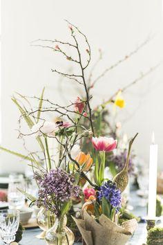 Florale Tischdekoration zu Ostern. #tollwasblumenmachen