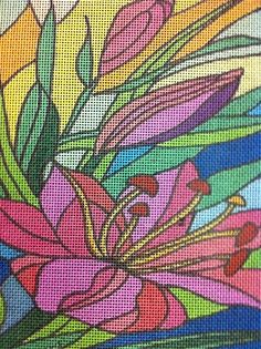Flower Pattern  Here is a brand new, colorful, ready to finish 18 count white mono deluxe needlepoint canvas. 12 ct, 13ct and 14 ct canvas is also