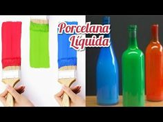 Porcelana Líquida Caseira/Pinta:plástico,madeira,cimento gesso,vidro e lata - YouTube Girl Scouts, Pantone, Decoupage, Make It Yourself, Bottle, Diy, Blog, Crafts, Biscuit