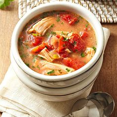 Yum! Try this Spicy Brazilian Turkey Soup for your next lunch! More healthy soup recipes here: http://www.bhg.com/recipes/chili/healthy-soup-and-chili-recipes/?socsrc=bhgpin070714spicybrazilianturkeysoup&page=2