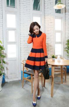 Long sleeved Large Navy stripe dress YRB0186 #orange #navystripe #stripe