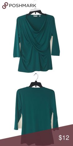 Must go!! Beautiful darker teal shirt 💚 Contains ruffles in the front of the shirt, plain back, in amazing condition, has been worn once, size medium! Stretchy material. Perfect for every day nice fit as well. From New york&company 💙 New York & Company Tops