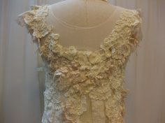 Custom Made Lovely Hand-Embroidered Ivory Lace Dress  Details & Back View  By Madabby @etsy