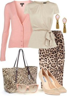 Work outfit: leopard print skirt and pink cardigan ~ just love it!