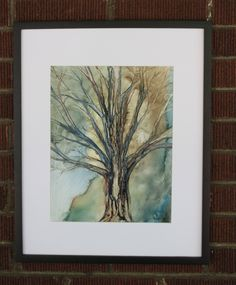 Abstract Tree. Tree in Forest. Surrealist Tree. Yupo Tree. Watercolor Tree. by EngelhardtDesigns on Etsy