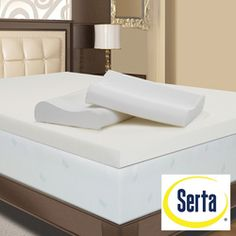 @Overstock - Sink into luxury with this 4-inch high-density memory foam mattress topper from Serta. This temperature sensitive topper adjusts to distribute body weight evenly to provide a restful night's sleep and arrives with two contour pillows.http://www.overstock.com/Bedding-Bath/Serta-4-inch-Memory-Foam-Mattress-Topper-with-Contour-Pillows/2653504/product.html?CID=214117 $159.99
