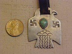 Fred Harvey Era Silver Navajo Thunderbird Fob Pendant with Swastikas Raincloud  -*-*-