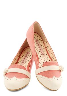 Sip of Liqueur Flat in Peach by Bait Footwear - Flat, Faux Leather, Pink, Tan / Cream, Solid, Vintage Inspired, 20s, Colorblocking, Good, Wo...