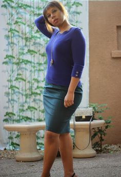 Curvy, Petite Outfit Ideas | Professional and Casual-Chic Fashion and Style Inspiration | + Teal Pencil Skirt and Cobalt Sweater http://www.petitecareergirl.com/2013/12/teal-pencil-skirt-and-cobalt-sweater.html