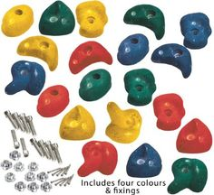 Green /& Blue 10 heavy duty climbing foot holds for tree house//climbing frame Coloured Climbing Stones Mega Pack
