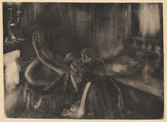 Edgar Degas A Nude with her Maid by a Fireplace, 1880/1885 monotype on heavy laid paper plate: 27.5 x 37.7 cm (10 13/16 x 14 13/16 in.) sheet: 32.7 x 49 cm (12 7/8 x 19 5/16 in.) National Gallery of Art, Washington, Collection of Mr. and Mrs. Paul Mellon
