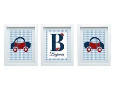 Art For Boys Bedroom, Car Nursery Art Custom Name, Toddler Bedroom Decor, Choose Your Color, Set of 3-8X10 Prints, Good For Baby Shower Gift...